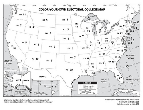 ColorYourOwn Electoral College Map Netninjacom - Electoral college us map