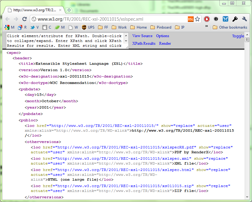 XML in Google's Chrome