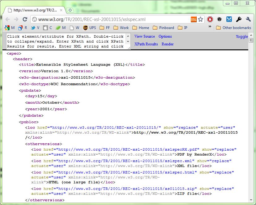 XML in Google's Chrome