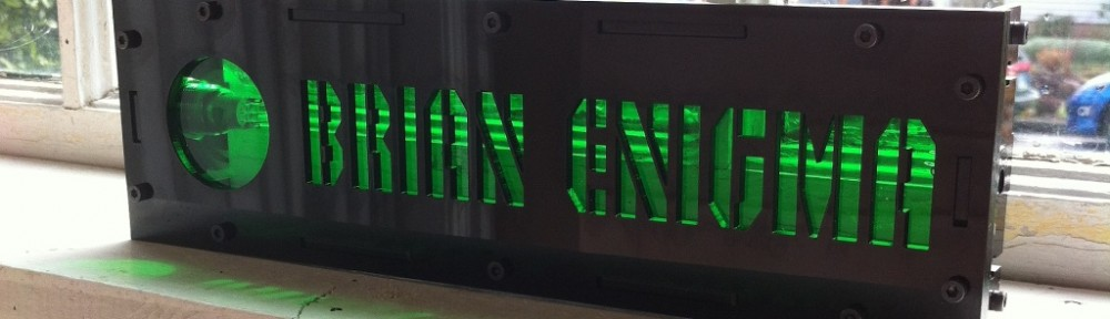 A laser-cut light-up nameplate