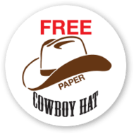 Buy a paper cowboy hat sticker.