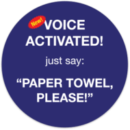 Buy a voice-activated paper towel dispenser sticker.